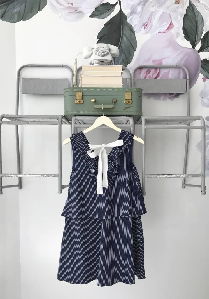 Navy & White Striped Ruffle Dress