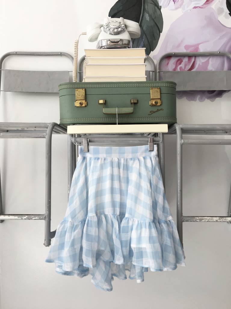 PRIMROSE Sky Gingham Hi Low Skirt