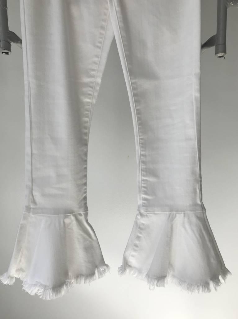 Ruffle Kick Flare White Jeans