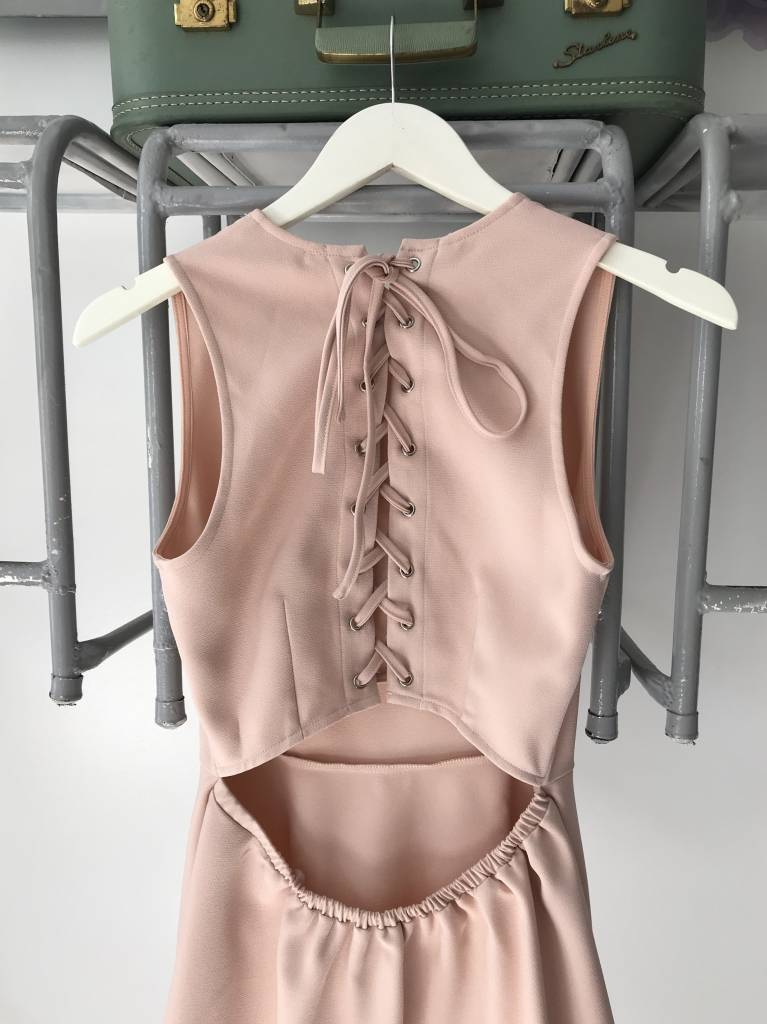 Nude Pink Lace Up Back Dress