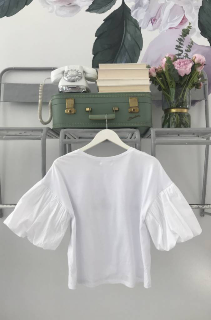 Puff Sleeve Jersey Top White
