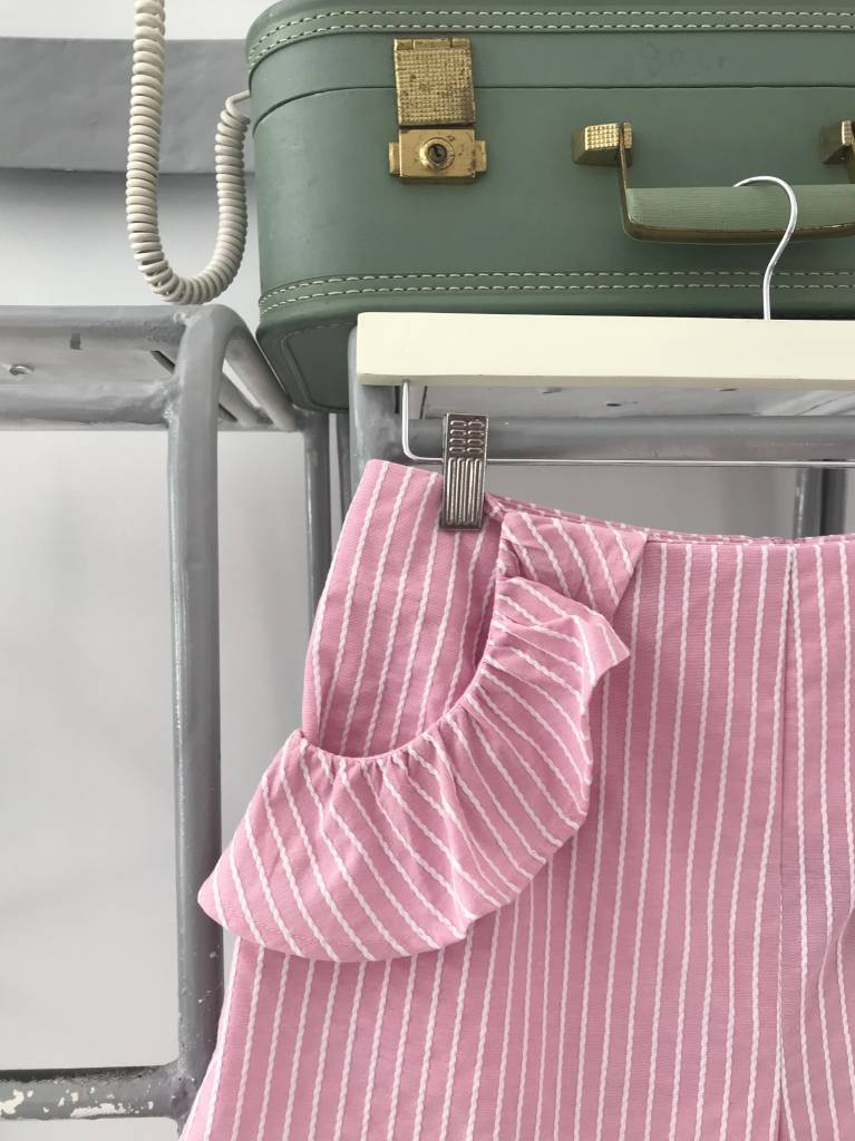 PARCEL Striped Ruffle Shorts