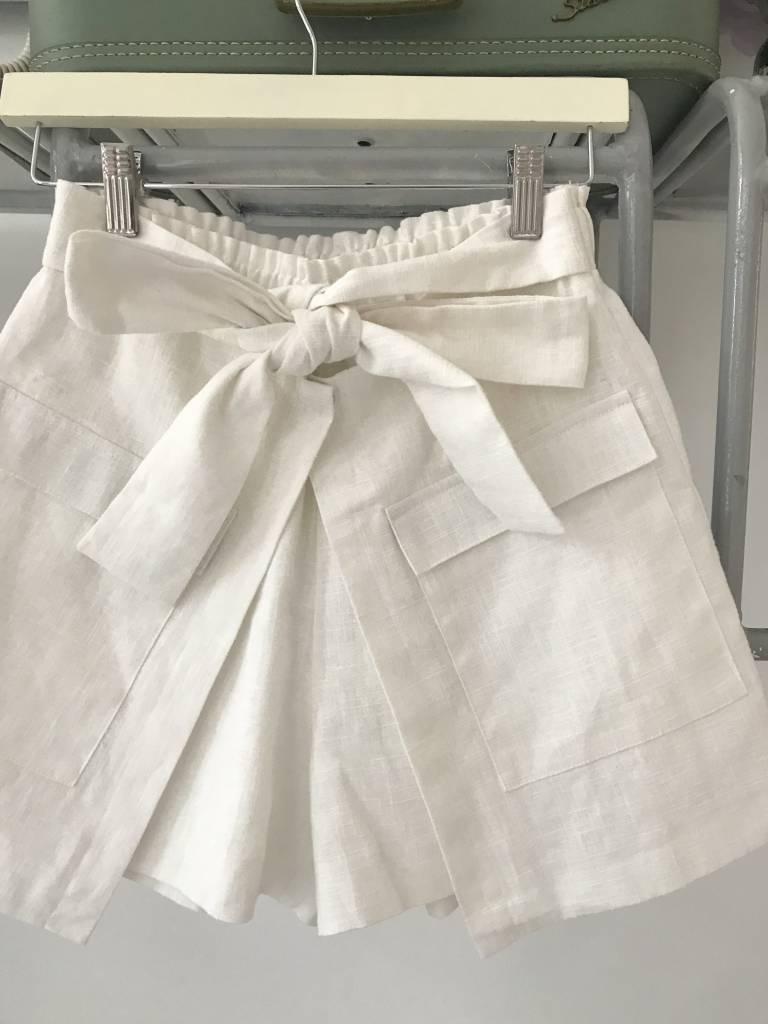 Tie Front Skort White