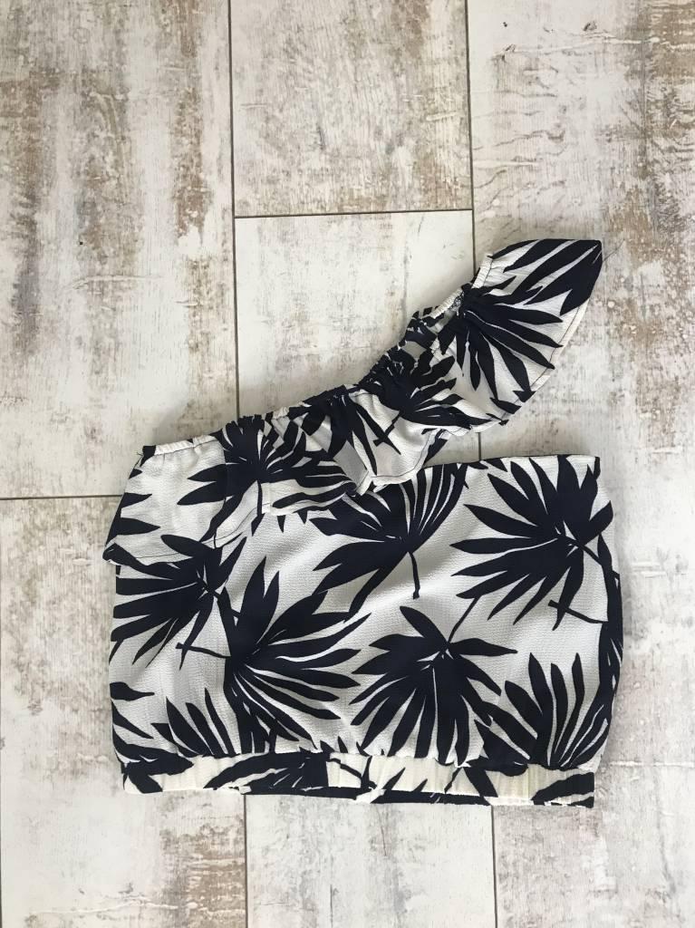 One Shoulder Palm Print Crop