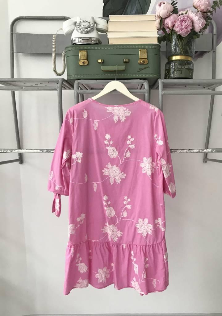 Embroidered Pink Dropwaist Dress