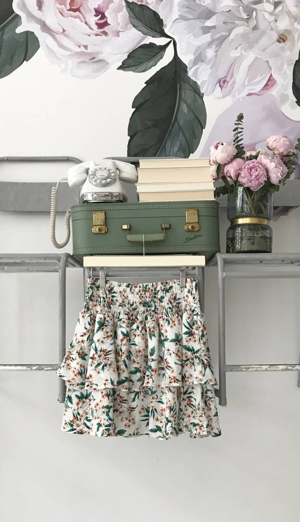 Green Floral Smocked Skirt