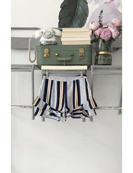 Blue & Orange Striped Shorts