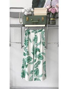 Palm Print Wide Leg Pants