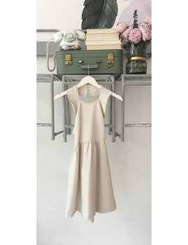 Dusty Taupe Ruffle Dress W/ Cross Back