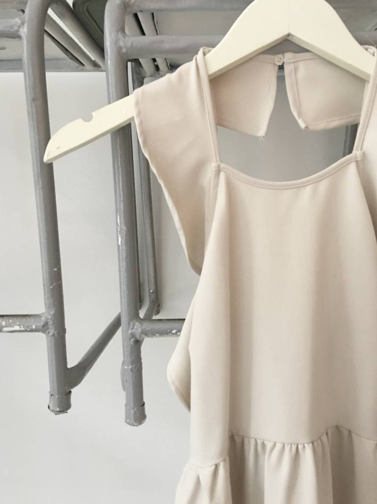 Dusty Taupe Ruffle Dress W/ Cross Back
