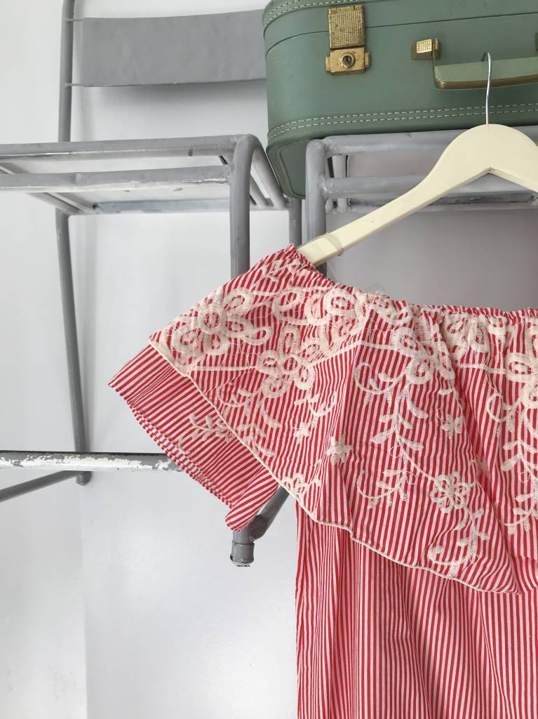 Red Embroidered Off The Shoulder Dress