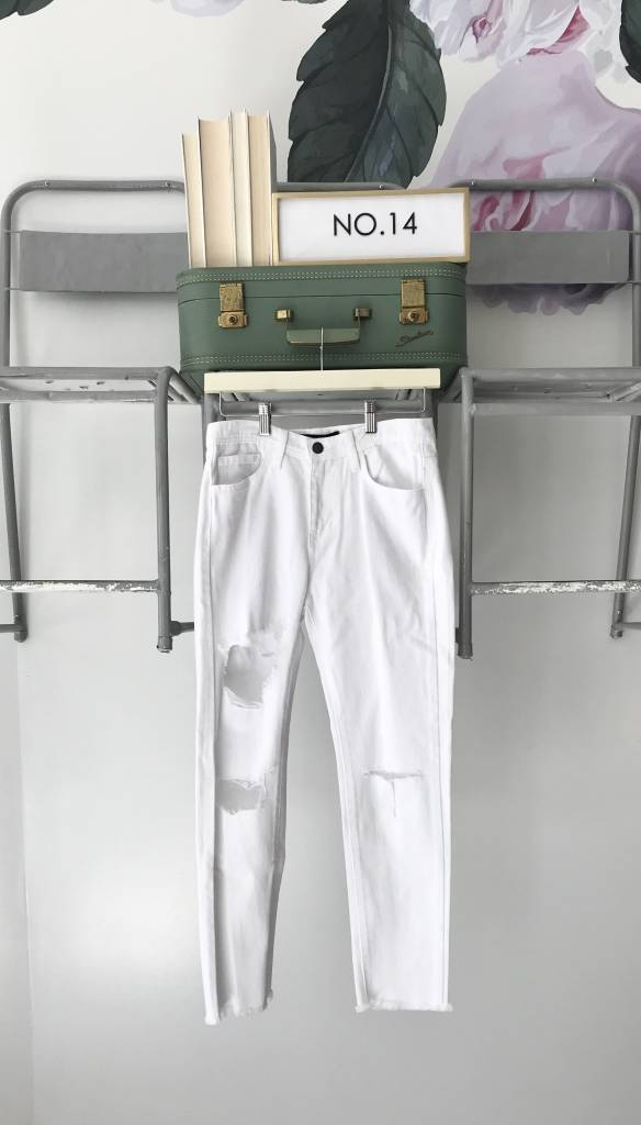 White Destroyed Girlfriend Jeans