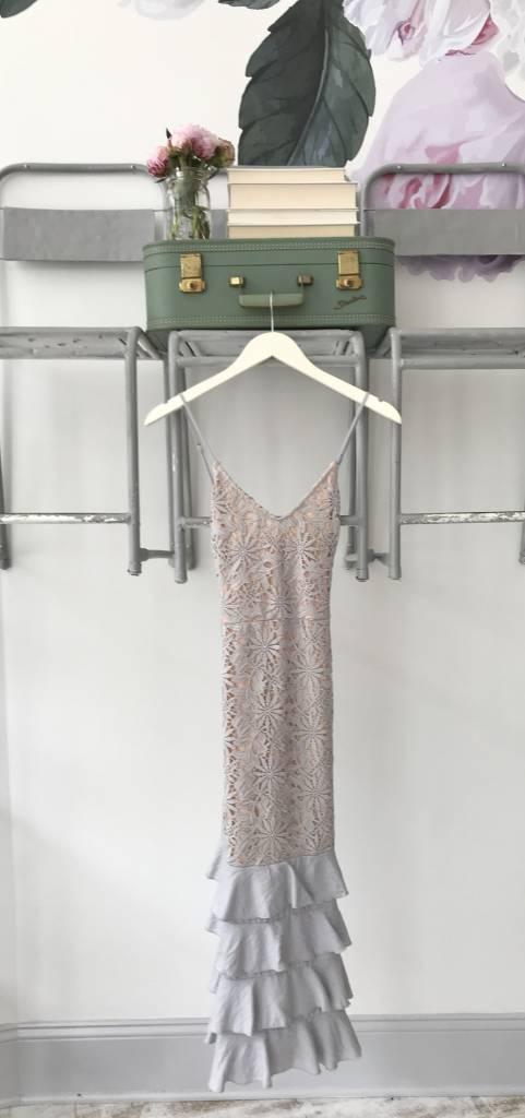 Grey Lace Dress W/ Ruffled Hem