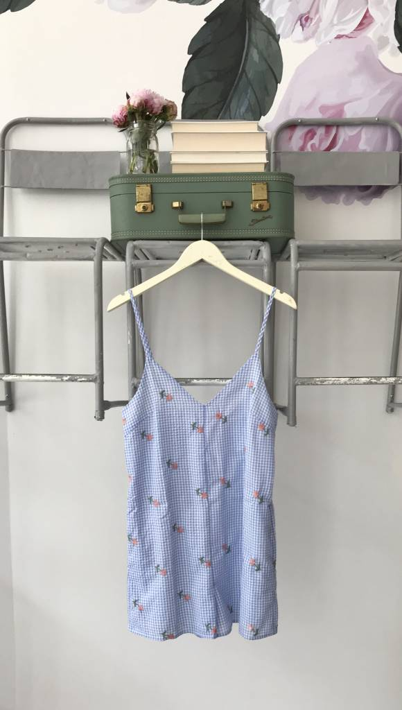 RE:NAMED Gingham Embroidered Romper