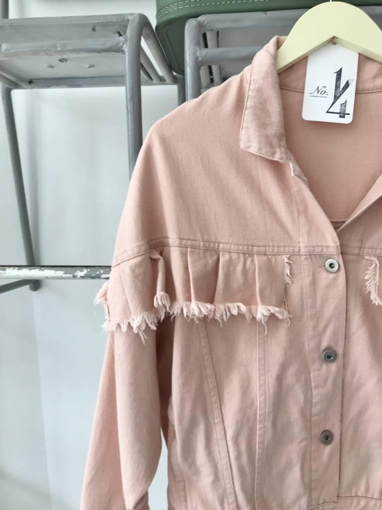 RE:NAMED Peach Ruffle Denim Jacket