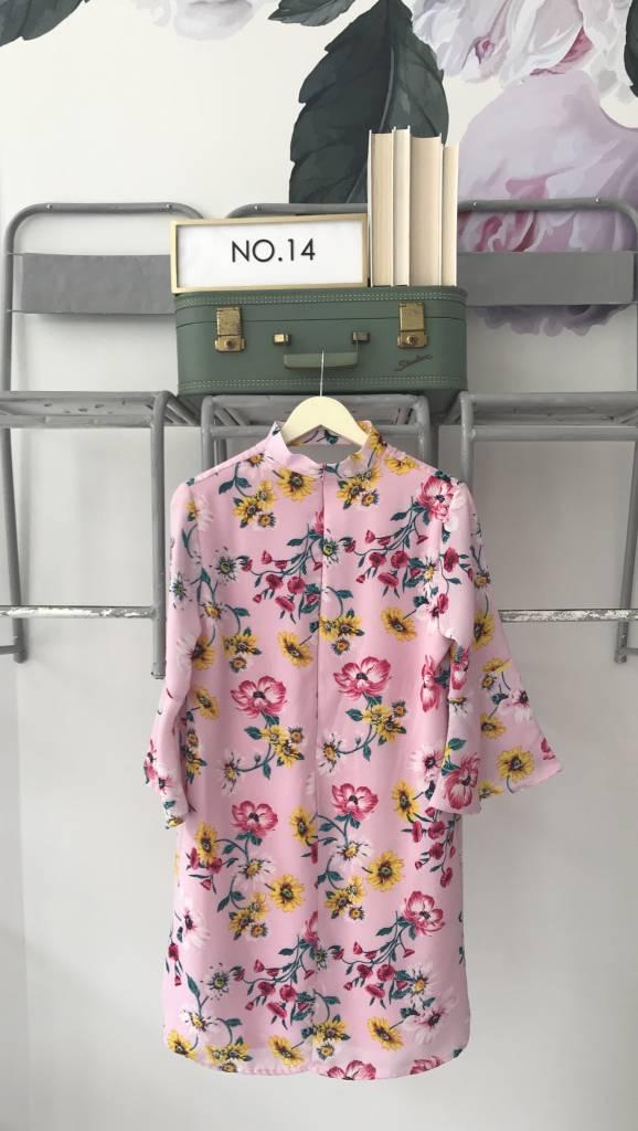Pink Floral Band Neck Dress