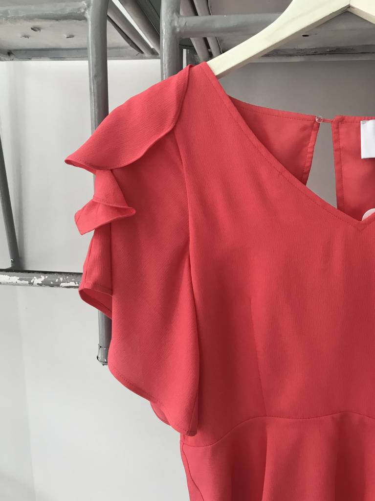 Tie Sleeve Cutout Back Top CORAL