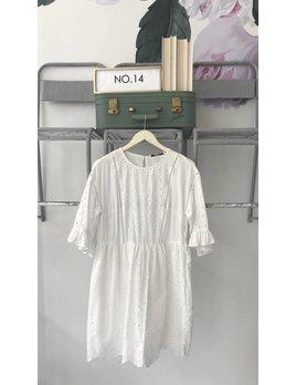 White Lace Short Sleeve Dress