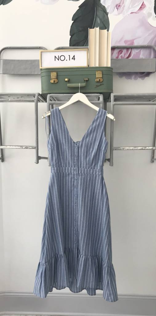 Blue Flared Bottom Midi Dress