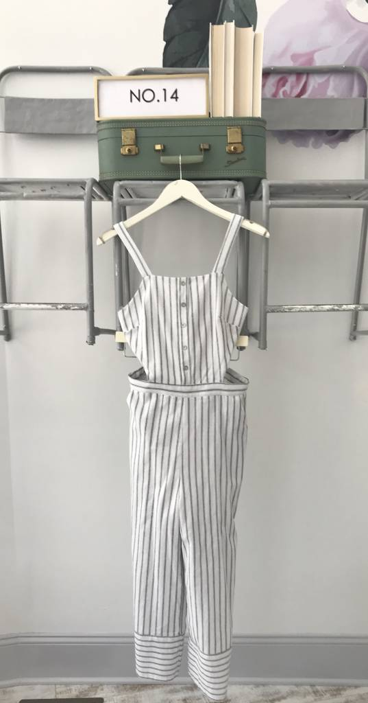 White Striped Jumpsuit