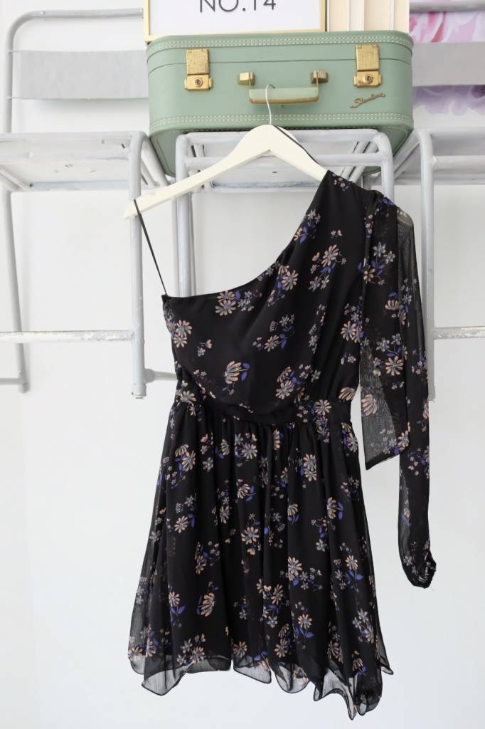 One Shoulder Dark Floral Dress