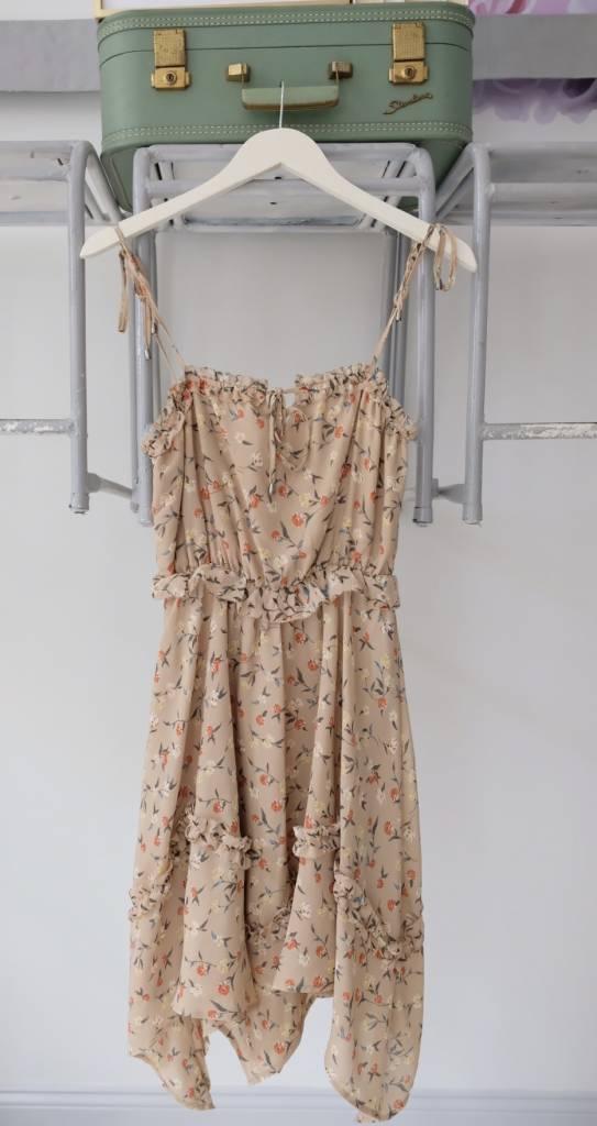 Taupe Floral Midi Tank Dress