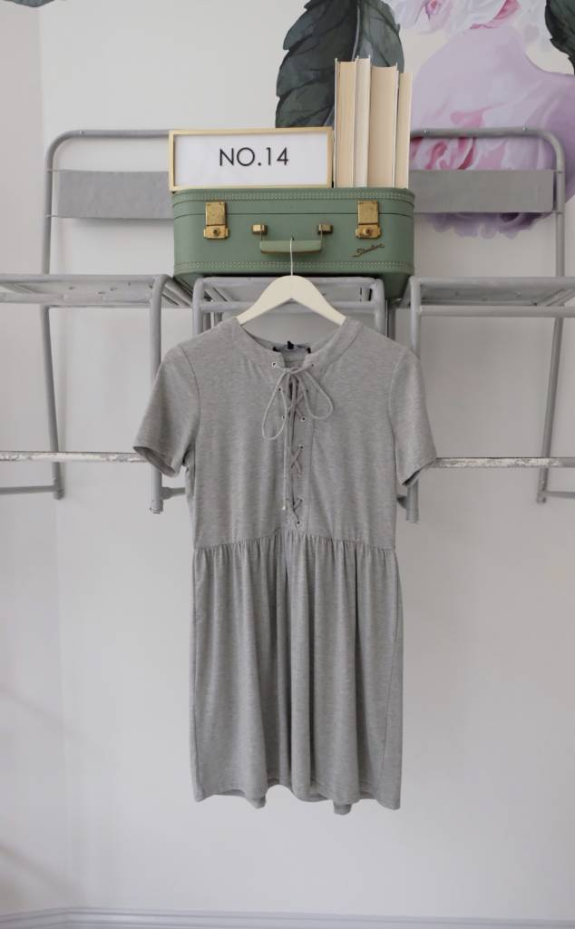 Grey Lace Up Fit & Flare Dress