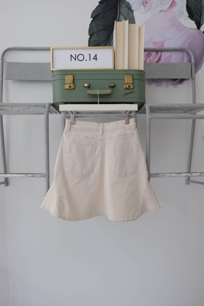 White Denim Flared Skirt
