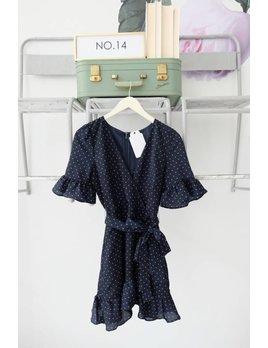 Navy Dot Ruffle Wrap Dress