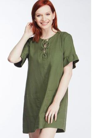 Army Green Lace Up Dress