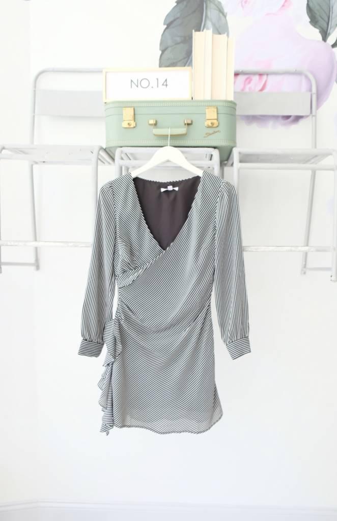 Black & White Long Sleeve Wrap Dress