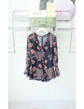 Long Sleeve Dark Floral Playsuit