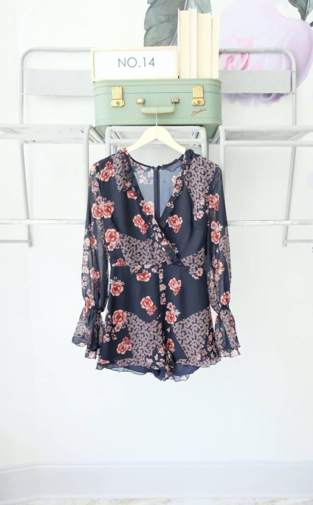 Long Sleeve Dark Floral Playsuit