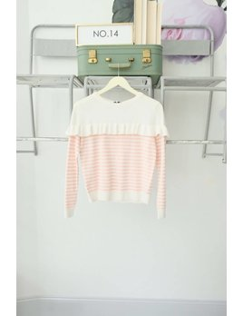 Blush Striped Ruffle Sweater