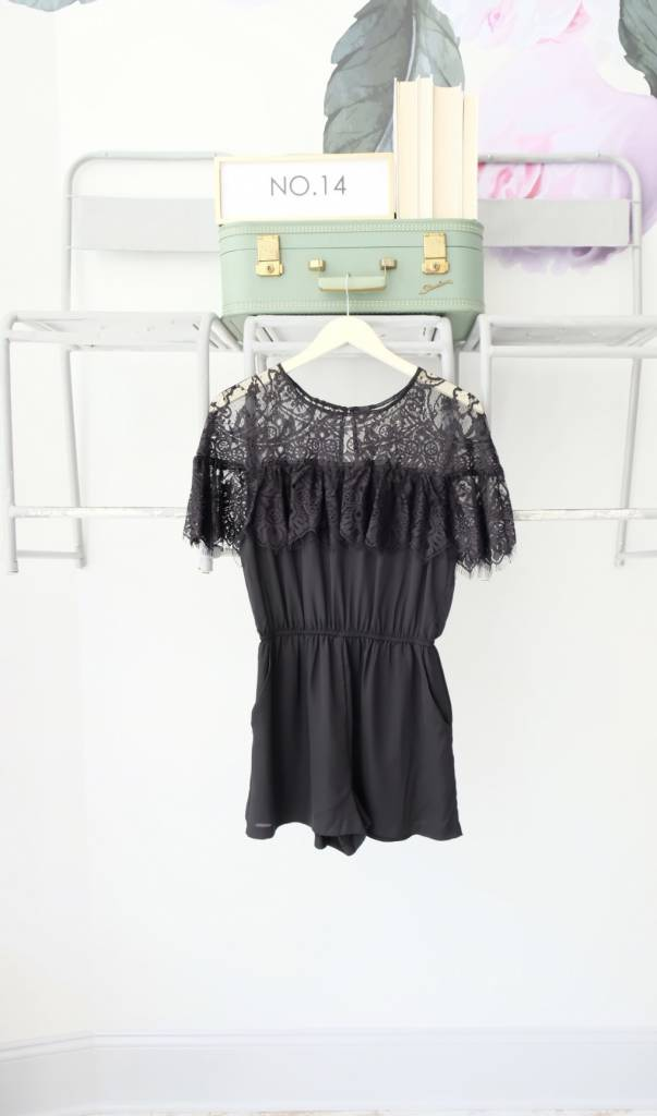 Black Lace Cape Romper