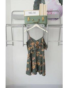 Green Floral Ruffle Mini Dress