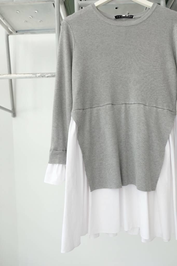 Grey Poplin Sweater Dress