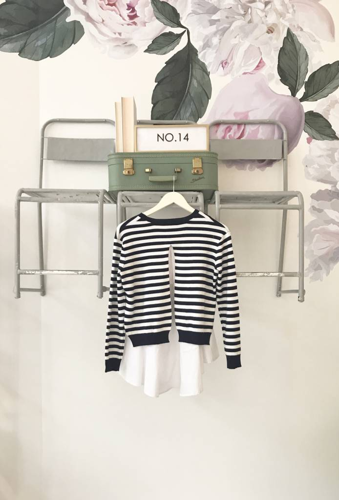 Navy Striped Top with Back Slit Combo