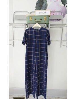 Culotte Short Sleeve Navy Check Jumpsuit