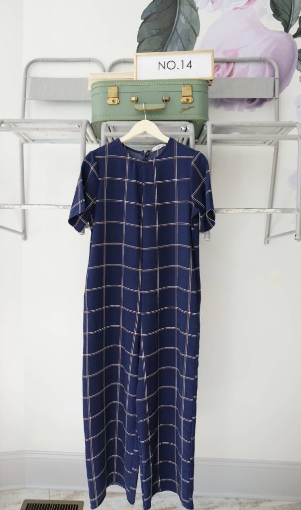 Culotte Short Sleeve Navy Check Jumpsuit