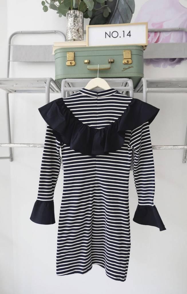 Striped Shirt Dress with Ruffle
