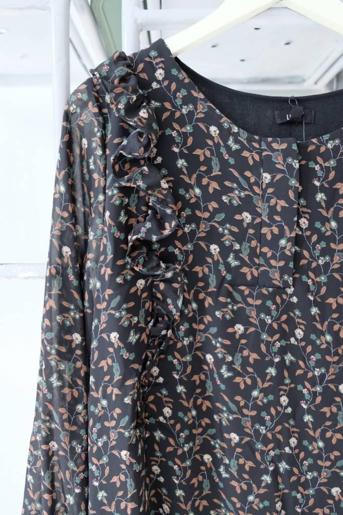 Button Front Black Floral Dress