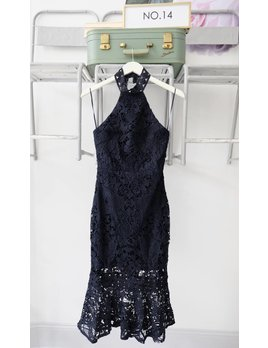 Lace Mermaid Dress Navy