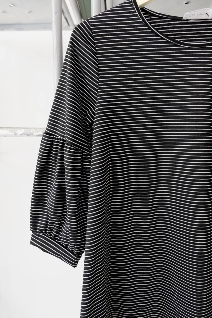 3/4 Sleeve Striped Balloon Tee