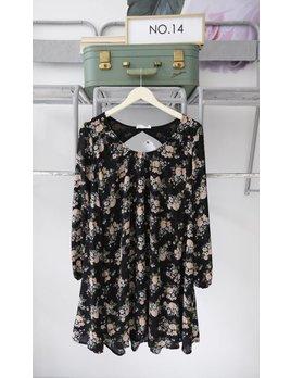 Dark Floral Long Sleeve Dress