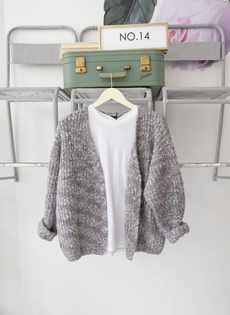 Grey Open Front Cardi