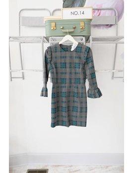 Plaid Ruffle Long Sleeve Dress