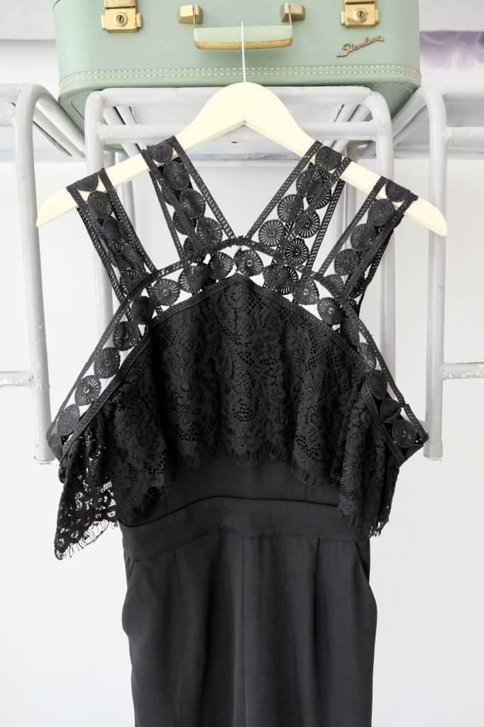 Cold Shoulder Black Lace Jumpsuit