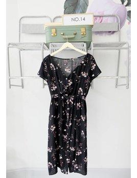 Black Floral Midi Dress