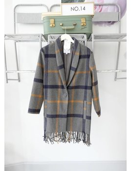 Plaid Fringe Coat